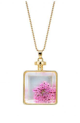 Złoty wisior różowy kwiat we szkle