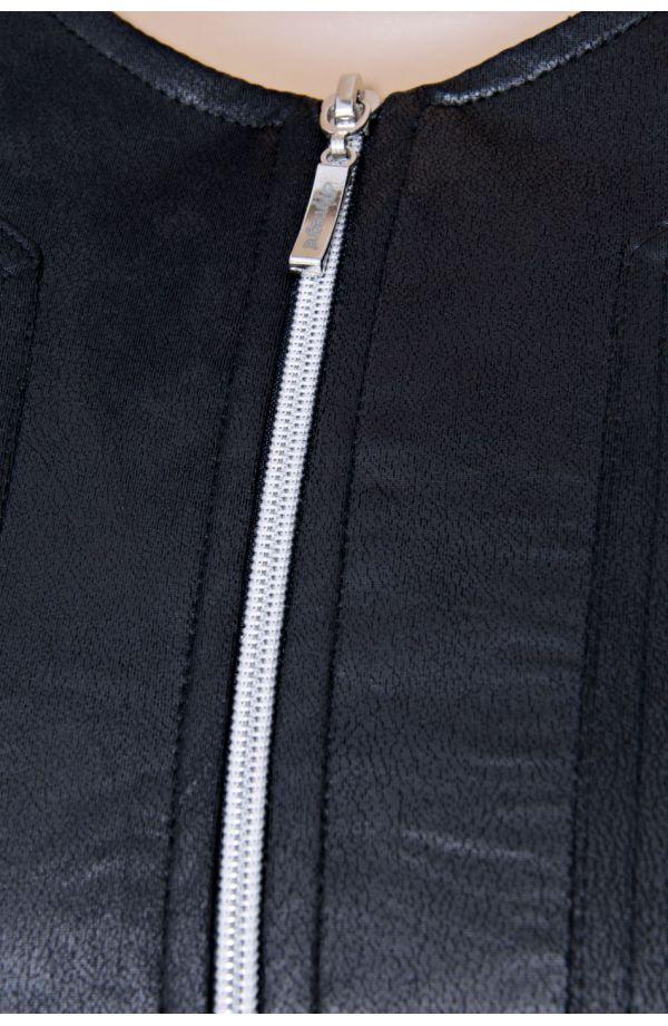 Czarne skórkowe wdzianko na suwak