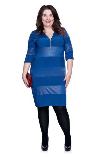 Kobaltowa krótka sukienka z suwakiem i skórkowymi wstawkami