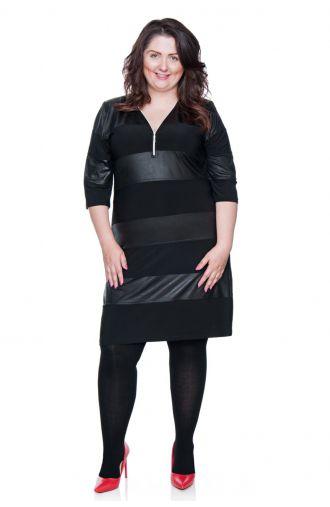 Czarna krótka sukienka z suwakiem i skórkowymi wstawkami