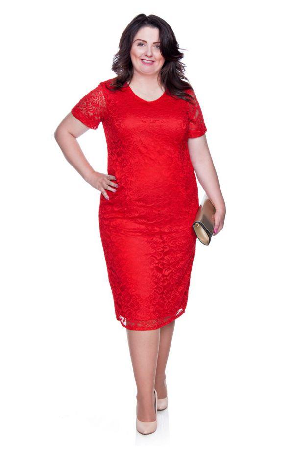 Czerwona koronkowa sukienka krótki rękaw
