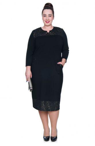 Czarna sukienka ciemnozłote wstawki