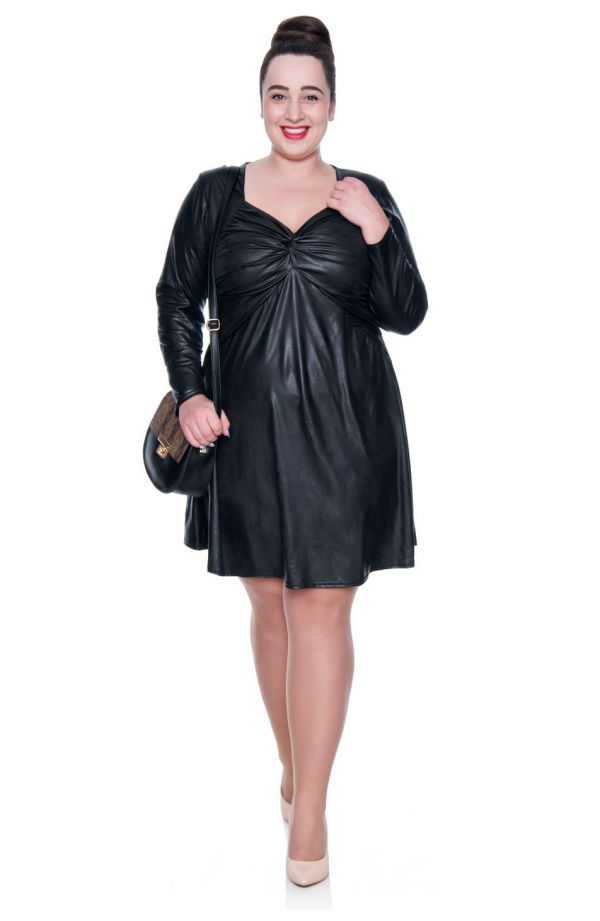 Czarna skórkowa sukienka