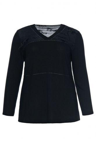 Elegancka czarna bluzka z piórkami