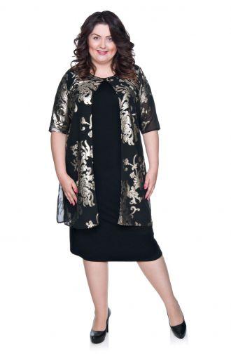 Czarna sukienka z narzutką ze złotym wzorem