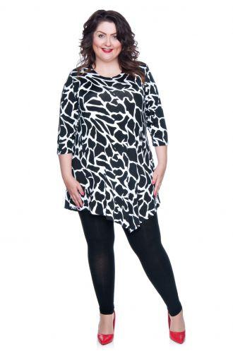 Asymetryczna tunika czarno-biały wzór żyrafa