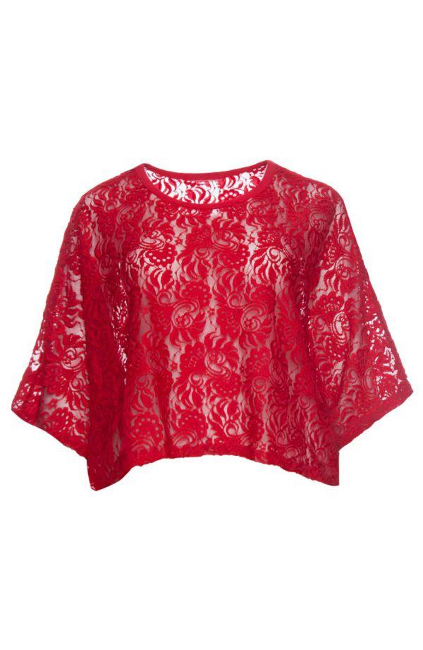 Czerwone koronkowe ponczo