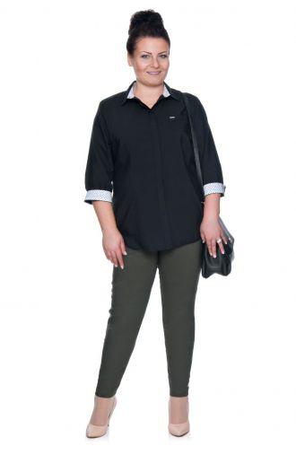 Elegancka czarna bluzka koszulowa z plisą