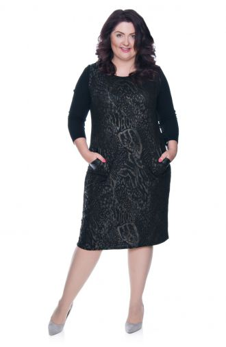 Czarna sukienka w złote cętki