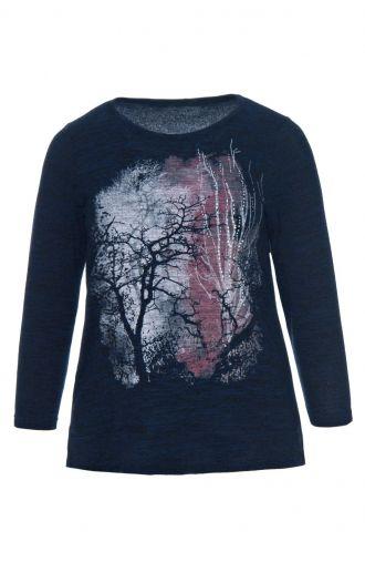 Granatowa ciepła bluzka wzór drzewa