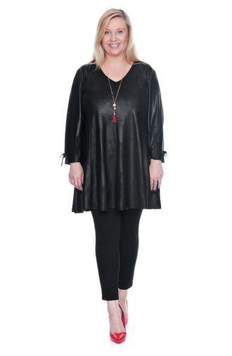 Skórkowa tunika w czarnym kolorze z kokardkami