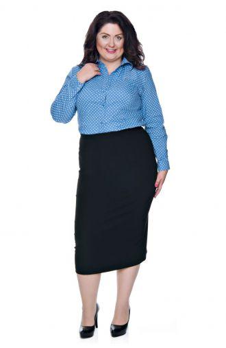Niebieska bluzka koszulowa w szare kropki