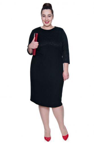 Prosta czarna sukienka z delikatnym zdobieniem