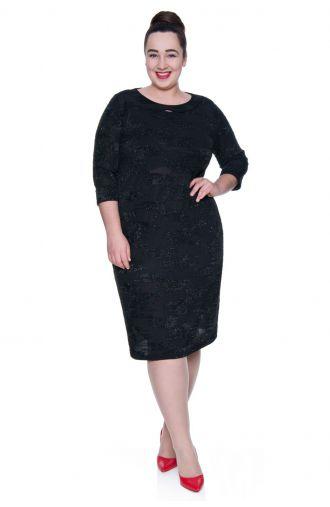 Cienka czarna sukienka z drobinkami