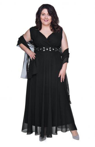 Długa czarna szyfonowa sukienka z szalem