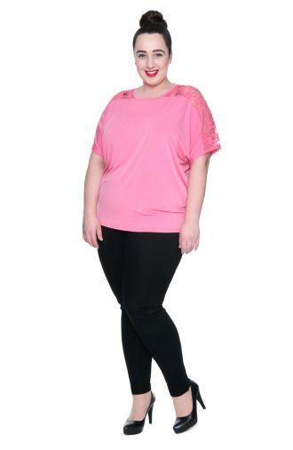 Różowa bluzka wizytowa, koronkowa wstawka