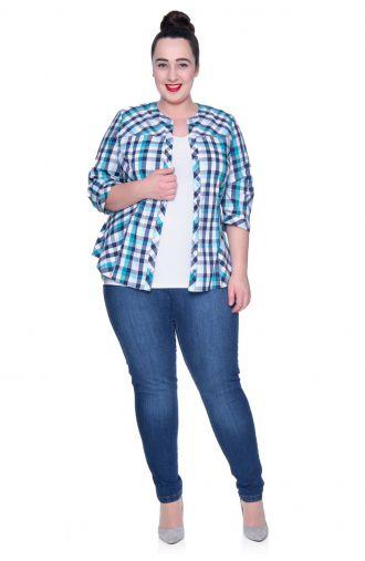 Bawełniana bluzka koszulowa w turkusową kratkę