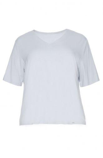 Gładka szara bluzka z krótkim rękawem dekolt V