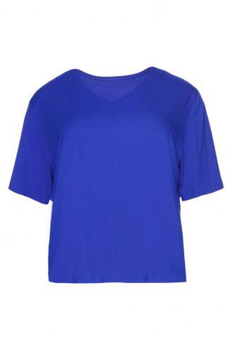 Gładka niebieska bluzka z krótkim rękawem dekolt V