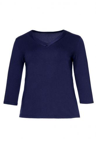Niebieska bluzka dekolt V
