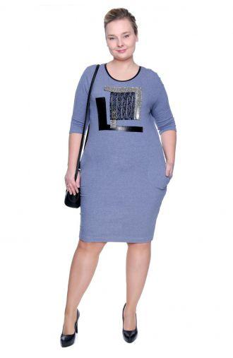Niebieska elastyczna sukienka z nadrukiem