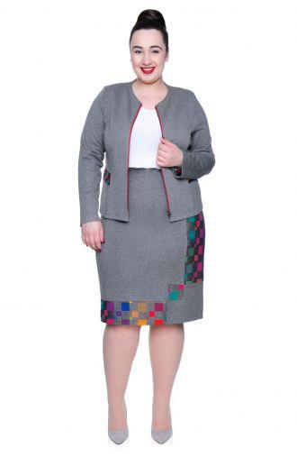 Szara spódnica z kolorowymi wstawkami