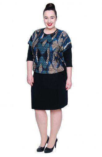 Czarna sukienka z turkusową narzutką