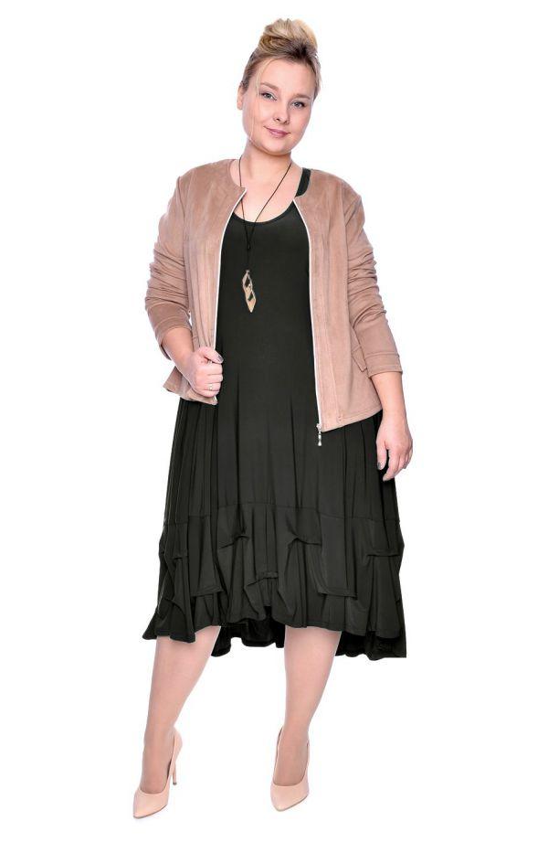 Ciemnozielona dłuższa sukienka z falbanką