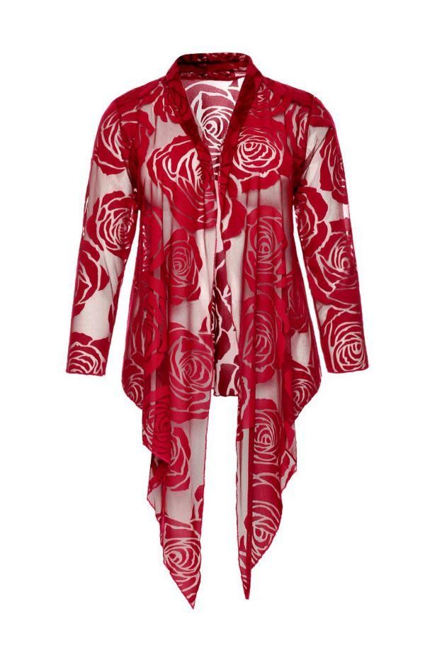 Czerwone wiązane bolerko w róże