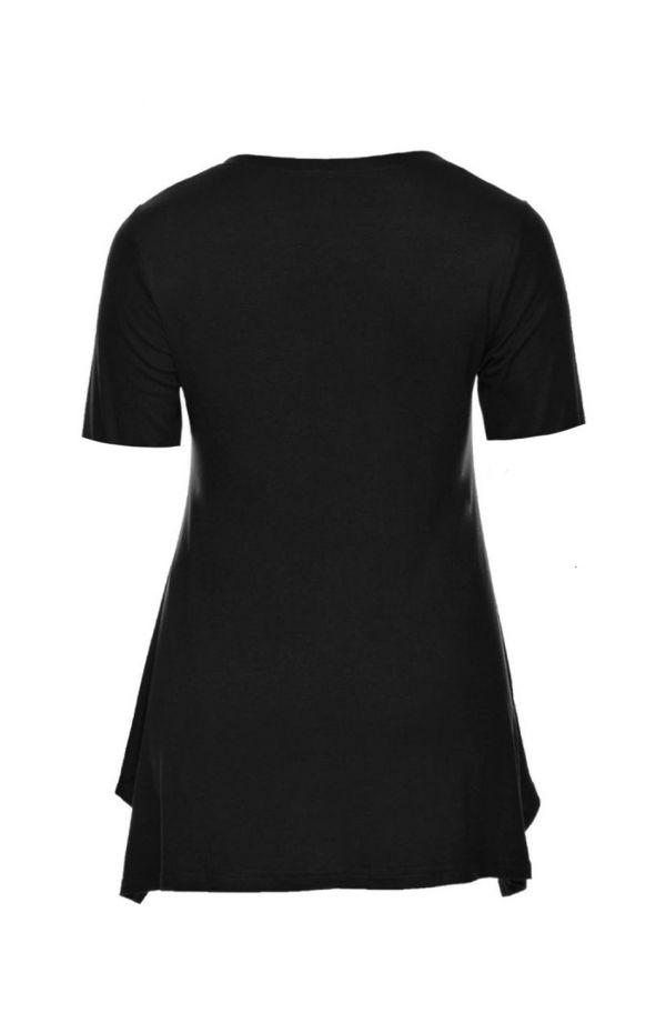 Czarna tunika z krótkim rękawem
