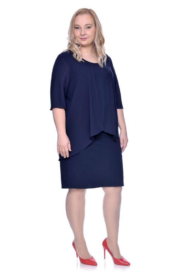 Granatowa sukienka z imitacją narzutki
