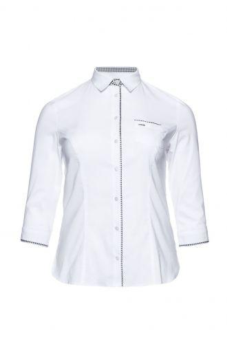 Biała koszula ze wstawkami w pepitkę