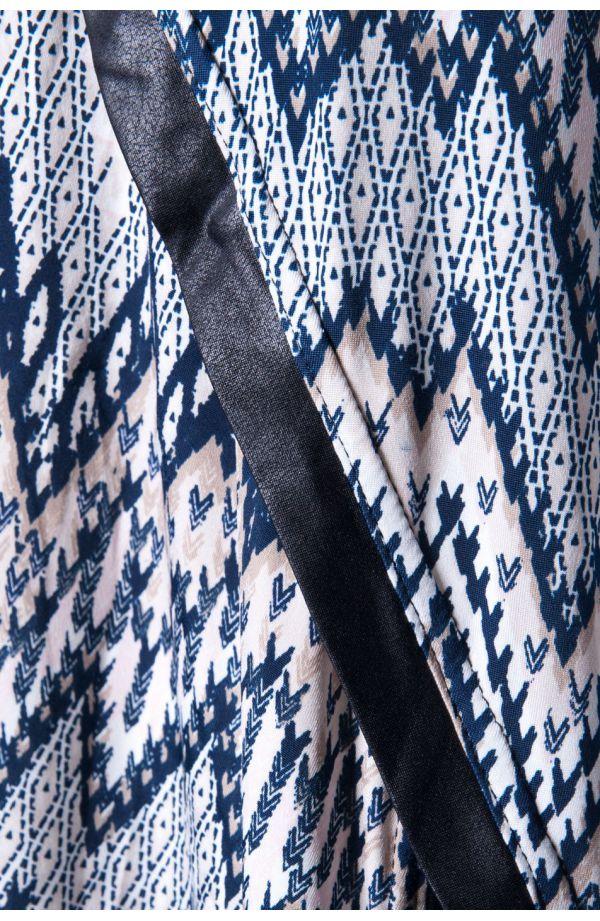 Wzorzysta tunika ze skórkowymi wstawkami