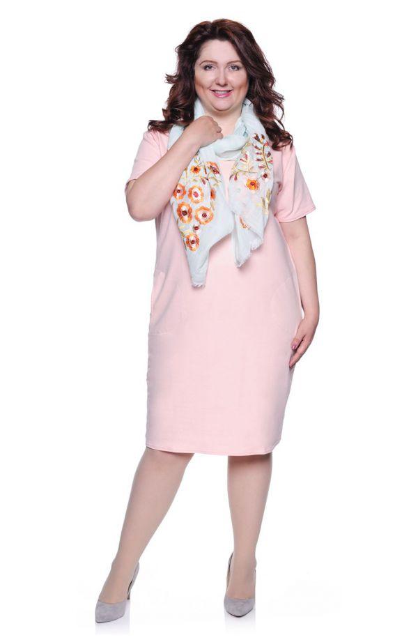 Bladoróżowa gładka sukienka z kieszeniami