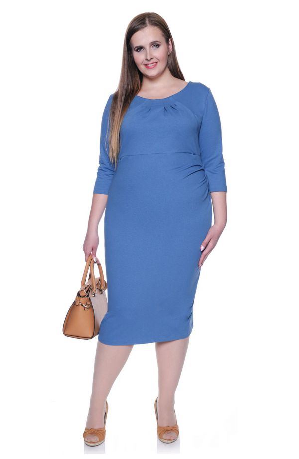 Niebieska drapowana sukienka z dzianiny