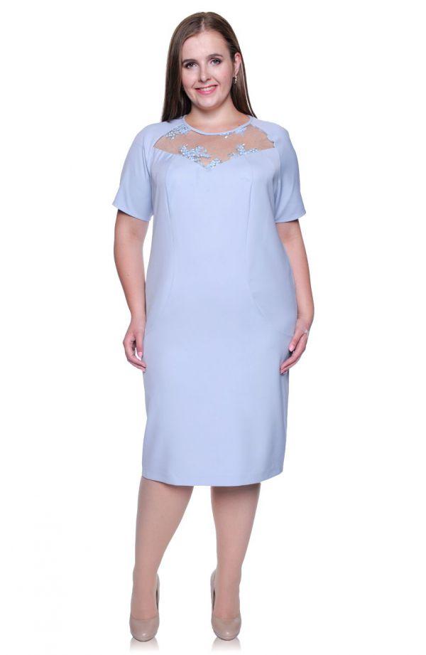 Błękitna sukienka koronkowy karczek
