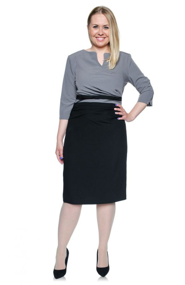 Kopertowa szaro-czarna sukienka