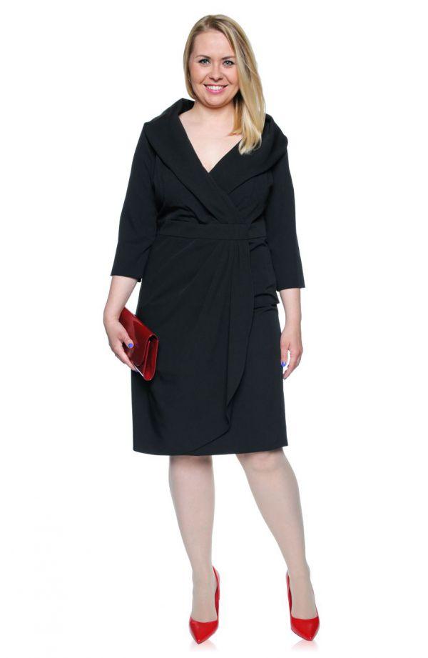 Czarna kopertowa sukienka z szalowym dekoltem