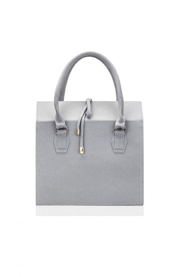 Jasnoszara torebka kuferek z wiązaniem