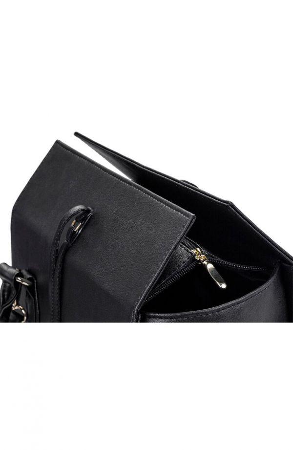 Czarna torebka kuferek z wiązaniem