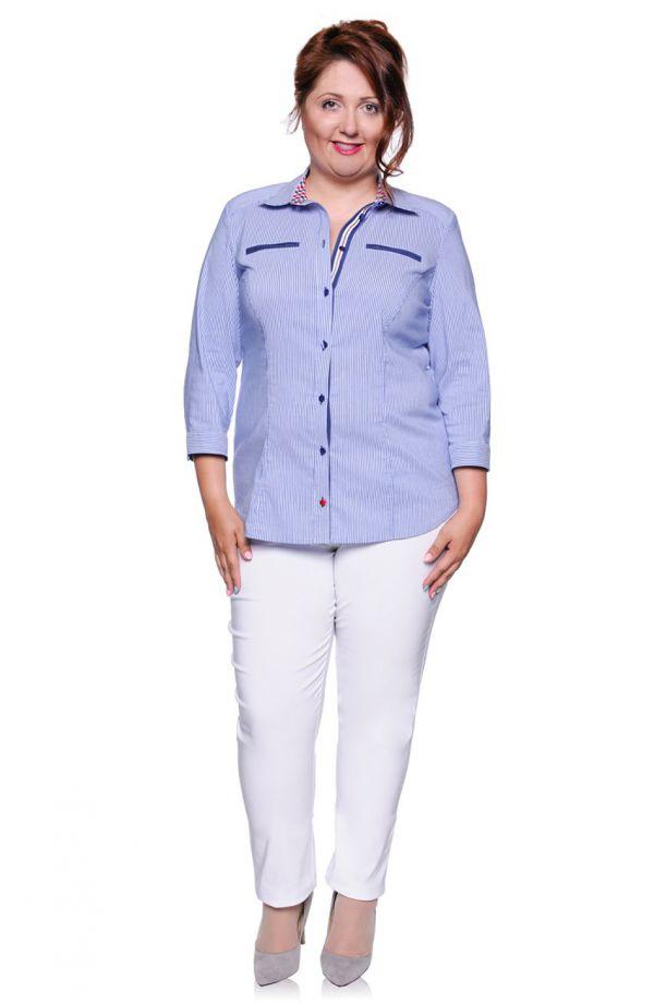 Elegancka bluzka koszulowa w paski z imitacją kieszeni
