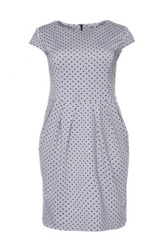 Sukienka bombka w grochy z krótkim rękawem