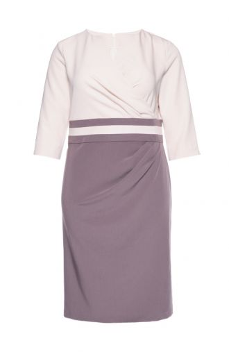 Kopertowa kremowo-beżowa sukienka