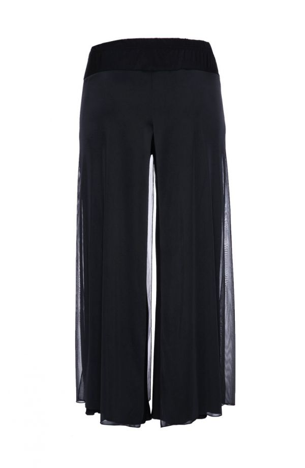 Szyfonowe czarne spodnie z rozcięciami