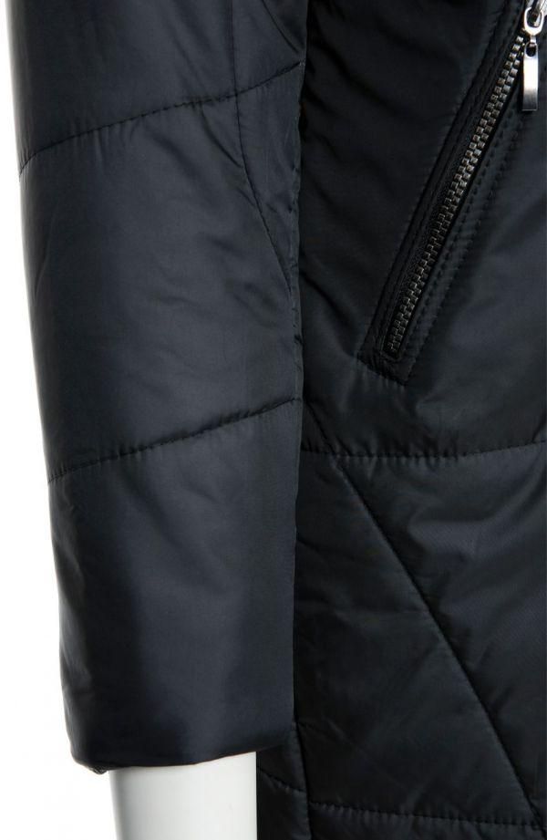 Ciepły czarny płaszcz z futerkiem
