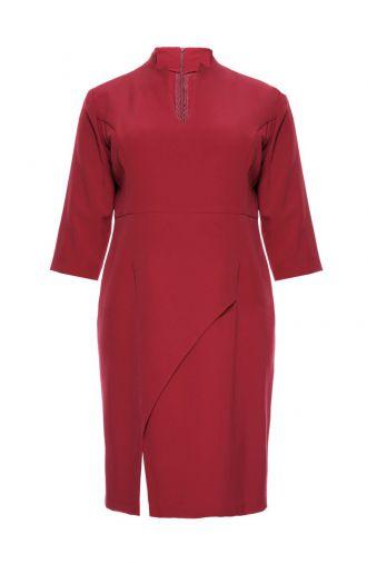 Bordowa sukienka z rozporkiem