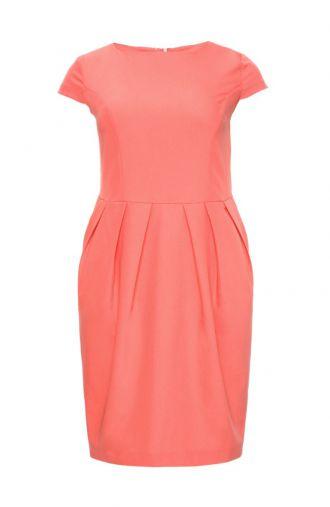 Koralowa sukienka bombka z krótkim rękawem