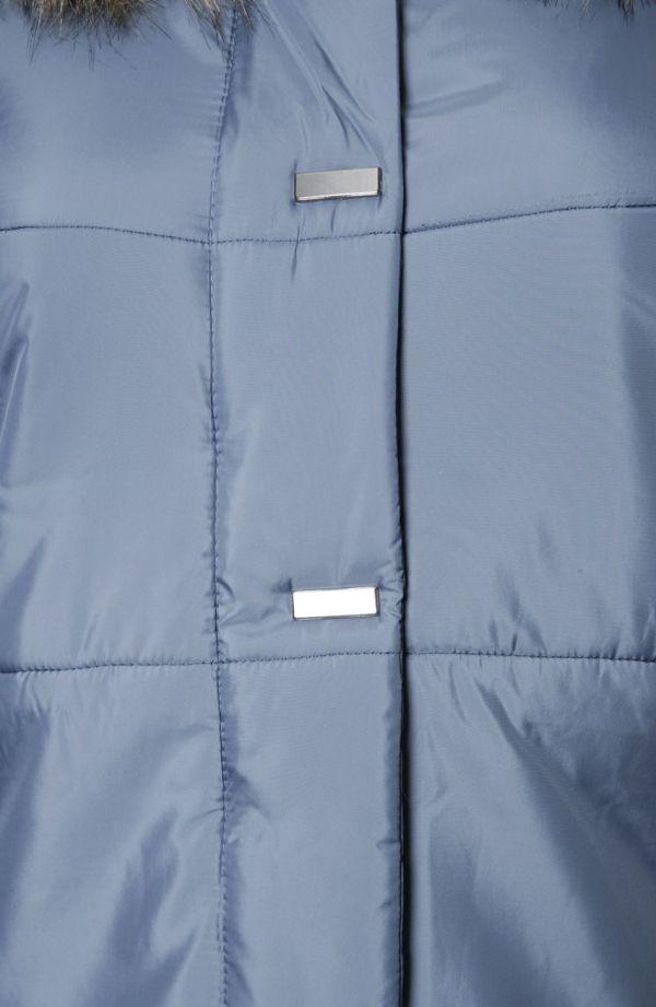 Ciepły niebieski płaszcz z futerkiem