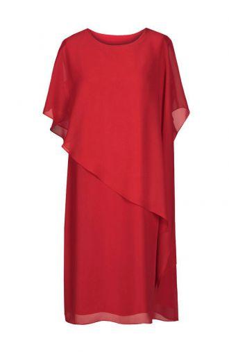 Luźna ciemnoczerwona sukienka z szyfonu