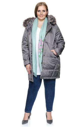Ciepły szary płaszcz z futerkiem